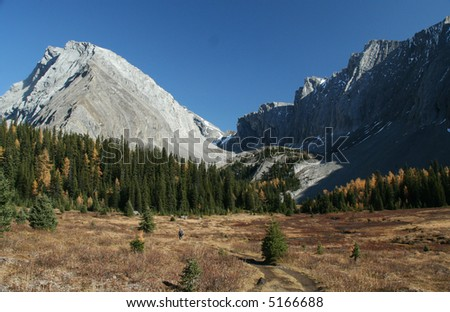 Autumn, hiker in meadow - Mts Galatea & Chester; folded rock formations;	Chester Lake trail	Canadian Rockies,Kananaskis,	Alberta, Canada