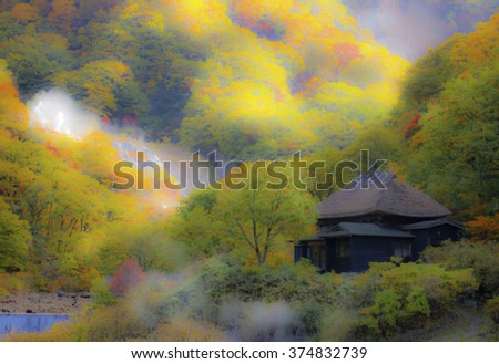 autumn hill with hot spring