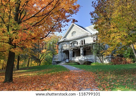 Autumn Historic House - stock photo