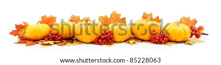 Autumn horizontal edge border of pumpkins and leaves - stock photo