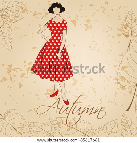 Autumn illustration of hand drawn style elegant vintage fashion lady - stock photo