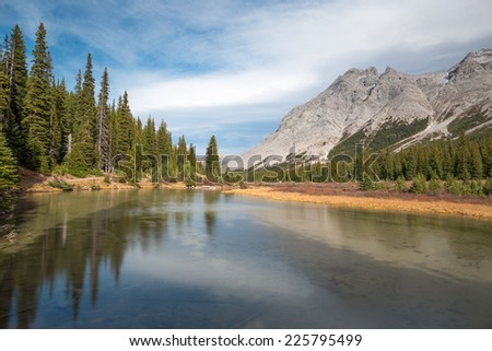Autumn in Canadian Rockies at Elbow Lake, Kananaskis Country
