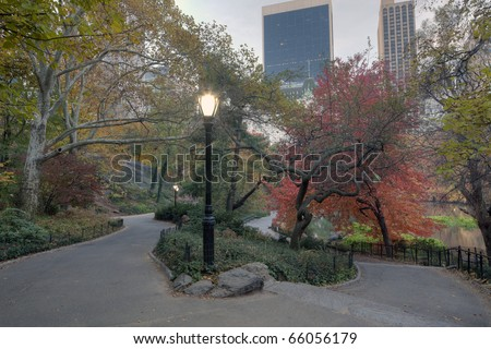 Autumn in Central Park with view of Central Park south