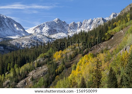 Autumn in Colorado's Eagle's Nest wilderness - changing aspen trees in Summit County. - stock photo