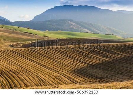 Autumn in fields and meadows of Slovakia country