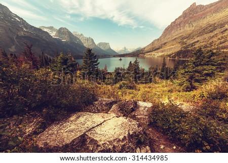 Autumn in Glacier NP, Montana, USA - stock photo