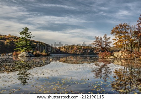 Autumn in Harriman State Park, New York State by lake - stock photo