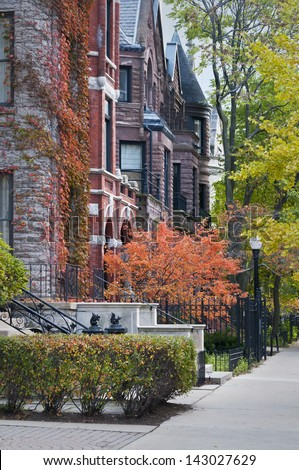 Autumn in one of downtown Chicago's many upscale neighborhoods. - stock photo