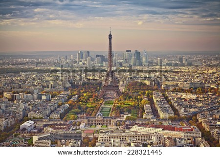 Autumn in Paris. Aerial view of Paris at sunset. View from Montparnasse Tower. - stock photo