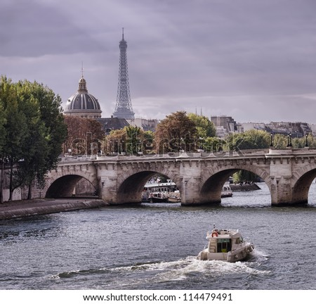 autumn in Paris, Seine river and Eiffel tower