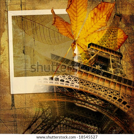 autumn in Paris - vintage artistic background with instant photo frame - stock photo