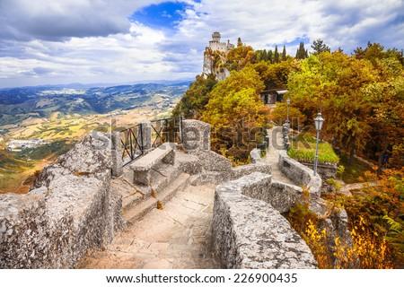 autumn in San Marino, Italy - stock photo
