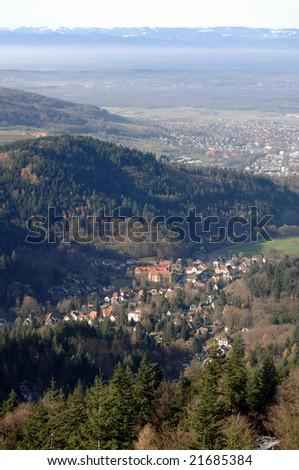 Autumn in the Black Forest with Vosges Mountains in the back, Germany