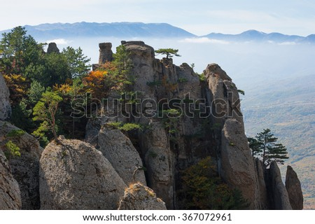 Autumn in the Crimean mountains. Demerdzhi - stock photo