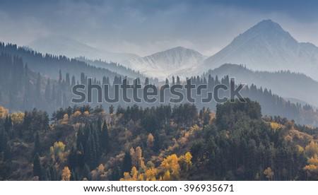 Autumn in the mountains, Kazakhstan - stock photo
