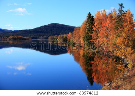 Autumn in the north part of sweden - stock photo