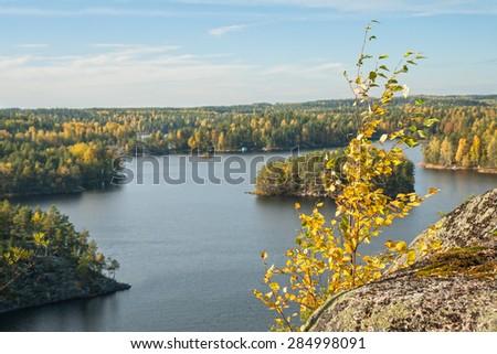 Autumn in the Repovesi (Finland, South Karelia) - stock photo