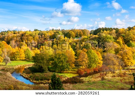 Autumn in Toila park. Ida-Viru County, Estonia, Europe - stock photo