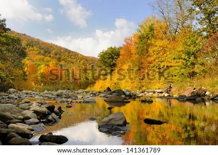 Autumn in West Virginia Along Mountain Stream - stock photo