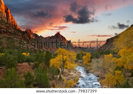 Autumn in Zion National Park, Utah. - stock photo