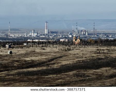 autumn industrial landscape - stock photo