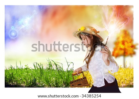 Autumn iron grass, from what a grass turns yellow. An enough place is for inscriptions - stock photo