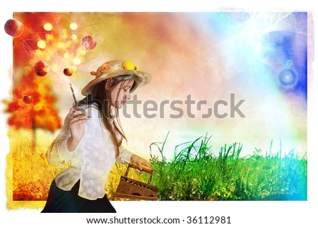 Autumn iron grass, from what a grass turns yellow. Yet it spills apples. An enough place is for inscriptions - stock photo