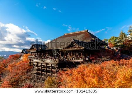 Autumn Kiyomizu Temple in Kyoto Japan. Kiyomizu-dera is UNESCO World Heritage listed. - stock photo