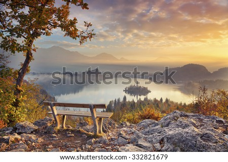 Autumn Lake Bled. Lake Bled with small Bled Island during autumn sunrise. Bled, Slovenia, Europe. - stock photo
