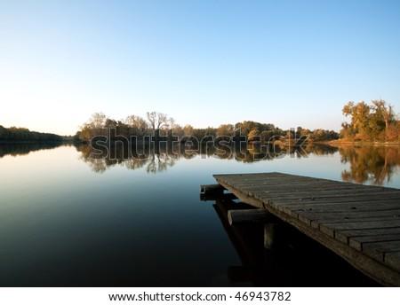 Autumn Lake Scenes Autumn Lake Scene With Wooden