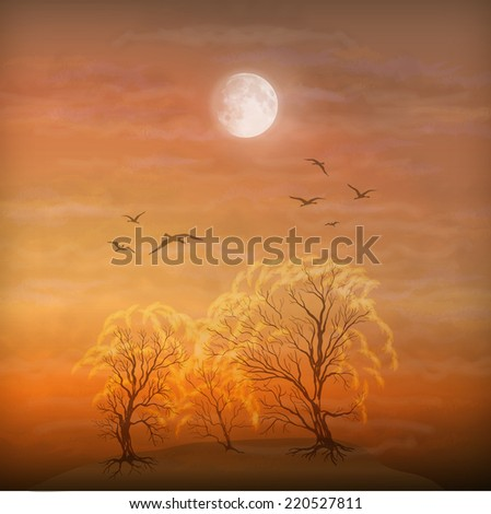 Autumn landscape as watercolor painting. Grunge picture showing trees, brush strokes dramatic moonlight sky, flying migratory birds - stock photo