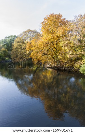 Autumn landscape at a river in South Scandinavia