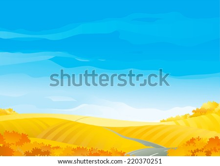 Autumn landscape. Autumn landscape of yellow fields with grass and alone road.   - stock photo