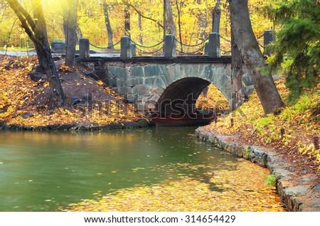 Autumn landscape. Bridge in park. Composition of nature. - stock photo