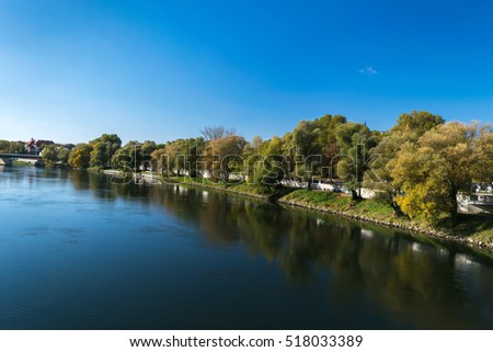 Autumn landscape by Danube, Ingolstadt, Germany, Europe