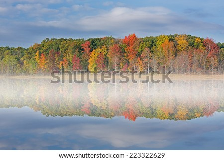 Autumn landscape, Deep Lake with fog, Yankee Springs State Park, Michigan, USA  - stock photo