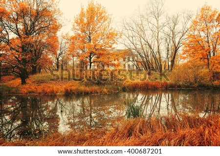 Autumn landscape in cloudy foggy weather - old abandoned house near the river in the autumn yellowed forest. Soft filter and vintage tones applied  - stock photo