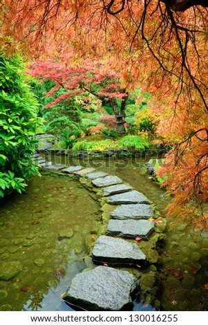 autumn landscape in Japanese Garden of the national historical site Butchart Gardens, Vancouver island, British Columbia, Canada - stock photo