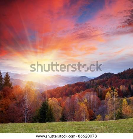 Autumn landscape in mountains. Ukraine, Carpathians - stock photo