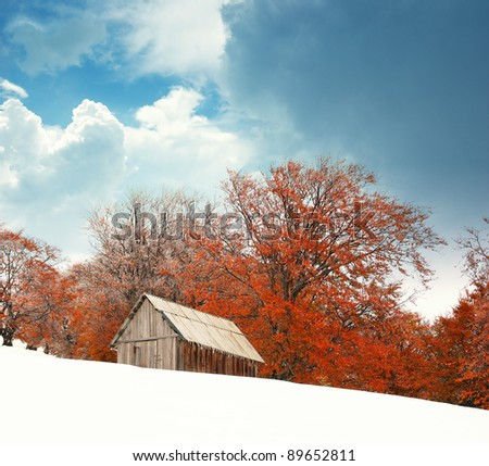 Autumn landscape in mountains. Ukraine, Carpathians - stock photo