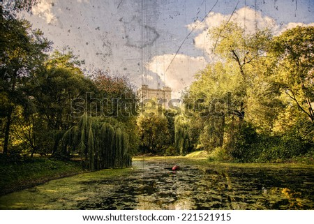 Autumn landscape in old park of Moscow - stock photo