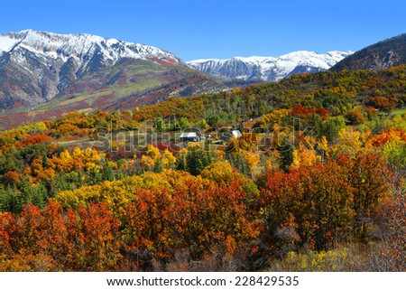 Autumn landscape in Rocky mountains - stock photo