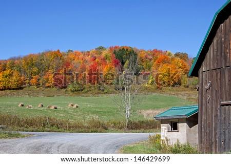 Autumn landscape in rural Tioga County,Pennsylvania. - stock photo