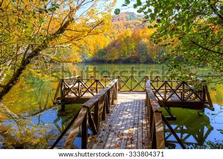 Autumn landscape in (seven lakes) Yedigoller Park Bolu, Turkey - stock photo