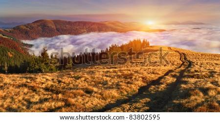 Autumn landscape in the mountains. Sunrise - stock photo