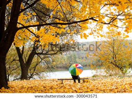 autumn landscape in the park - stock photo