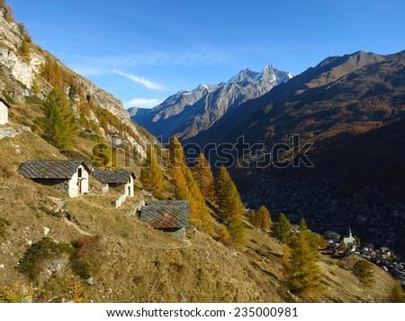 Autumn landscape in Zermatt, Switzerland - stock photo
