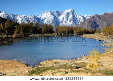 autumn landscape near Mont Blanc massif at lake Arpy, Italy - stock photo