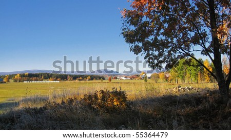 Autumn landscape of countryside with blue and clear sky