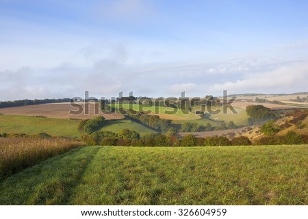 Autumn landscape of patchwork fields, hedgerows and trees viewed from a meadow high on the Yorkshire wolds in October